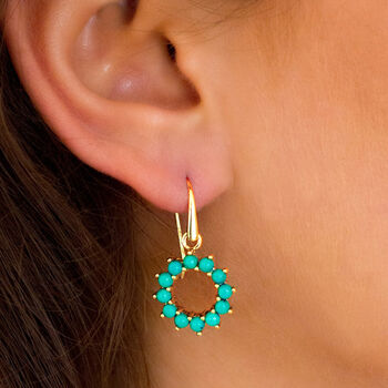Halo Radiance Turquoise Earrings In Gold