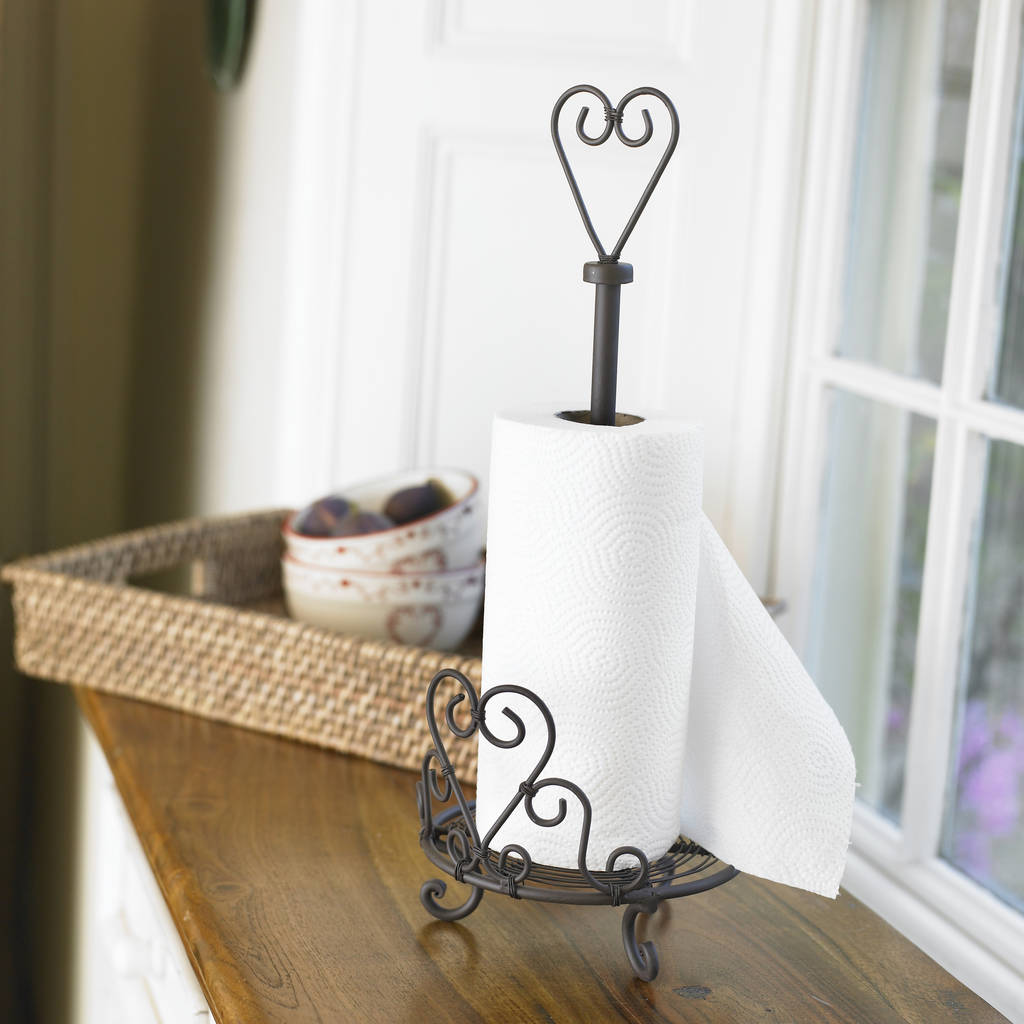 Vintage Brown Iron Standing Kitchen Towel Holder By Dibor