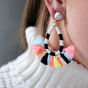 Multi Coloured Tassel Fan Earrings