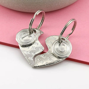 'Love You' Two Piece Heart Key Ring
