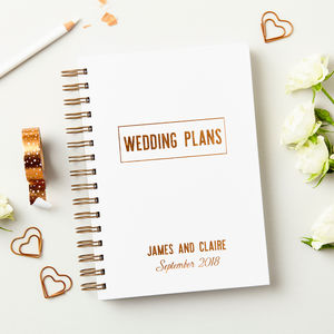 Personalised Copper Wedding Plans Book - wedding wedmin