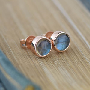 Solid Gold Labradorite Stud Earrings - gold earrings