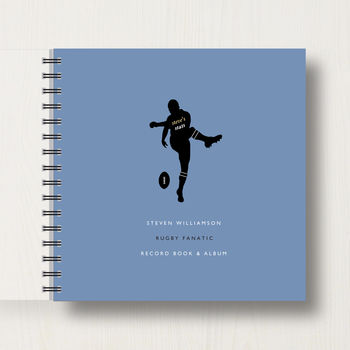 Personalised Rugby Lover's memory Book Or Album in dark blue