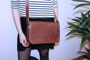 Charles Leather Plaited Crossbody