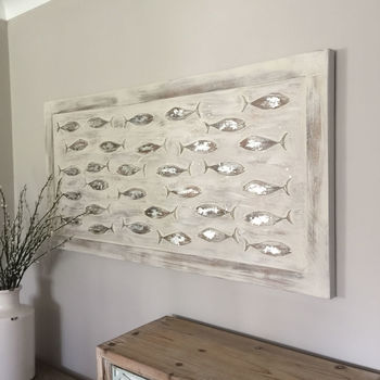 Fish Canvas With Carved Wooden Silver Fish Wall Art