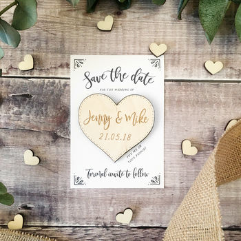 Wooden Heart Magnet Save the Date