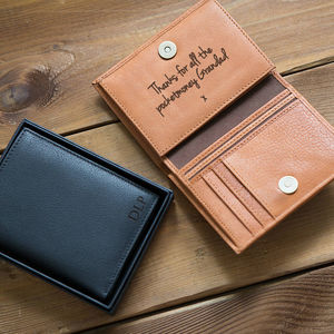 Personalised Men's Leather Wallet With Coin Pocket - for grandfathers