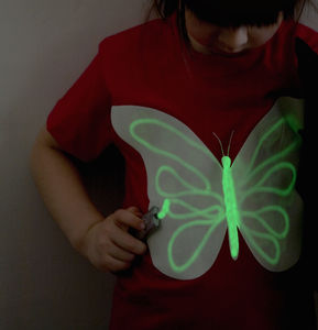 Kids Butterfly Glow In The Dark Interactive T Shirt