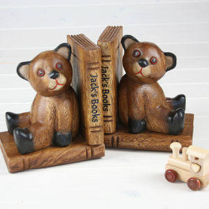 Hand Carved Personalised Teddy Bear Bookends
