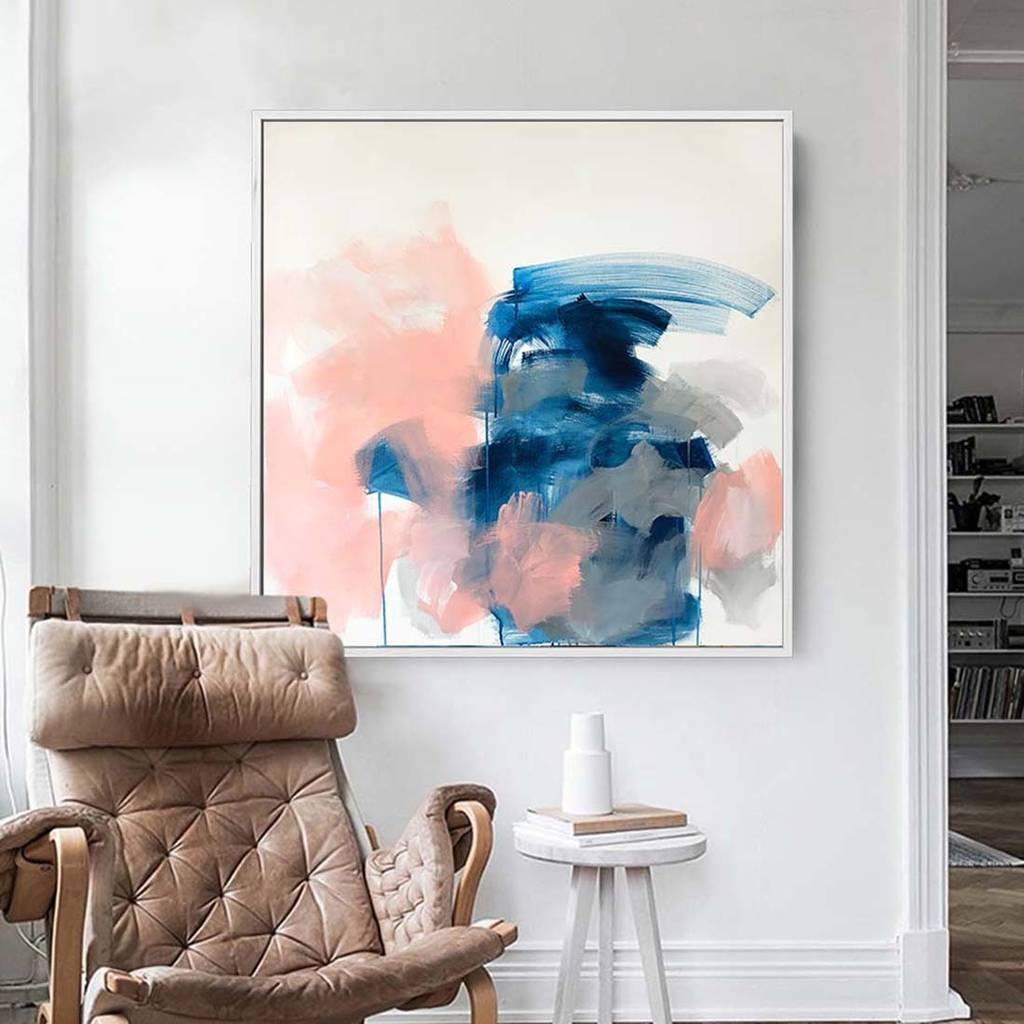 Blue Large Abstract Painting Blue And White Art