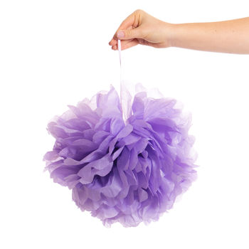 Pack Of Three Lavender Pom Poms