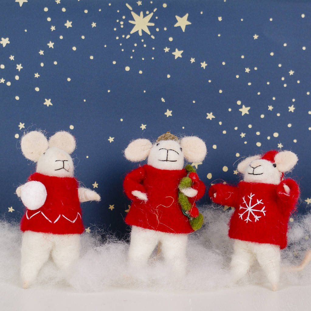 set of three wool mice christmas decorations