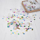 Metallic Rainbow And White Party Confetti Box