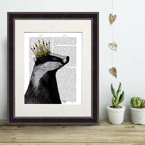 Badger Print, Badger King - canvas prints & art