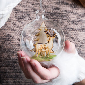 Personalised Woodland Stag Christmas Bauble Gift