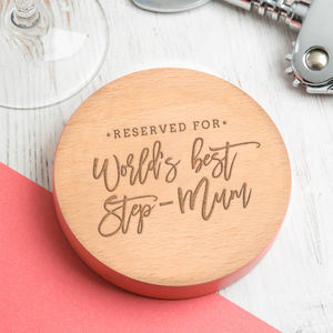 Worlds Best Step Mum Mother's Day Drinks Wooden Coaster