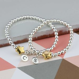 Personalised Mother Daughter Gold Star Bracelet Set