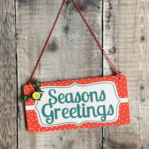 Seasons Greeting Christmas Sign - decorative accessories