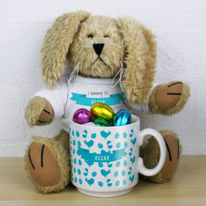 Personalised Bunny Rabbit Toy And Easter Mug Gift Set
