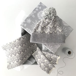 Bobble Hat, Snood And Wristwarmers Gift Set