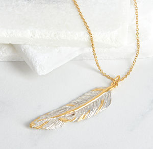 Silver Feather Large Pendant