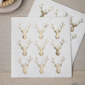 Mini Gold Foiled Stag Napkins - christmas