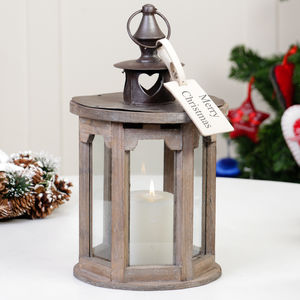 Personalised Christmas Nordic Wooden Heart Lantern Gift