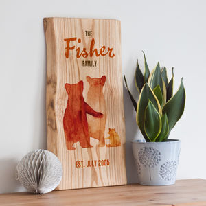 Personalised Bear Family Print On Wood - children's room