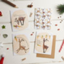 Pack Of Four Plantable Seed Reindeer Christmas Cards