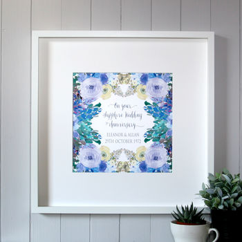 Personalised Sapphire Wedding Anniversary Canvas Print