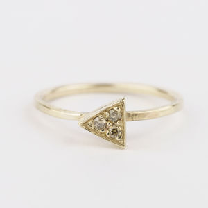 Tri Diamond Geometric Ring - wedding rings