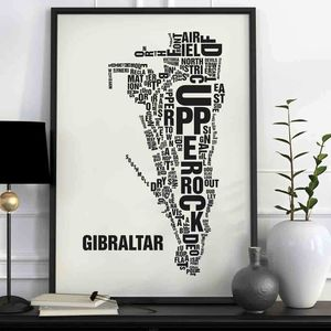 Gibraltar Letter Map Screen Print - posters & prints