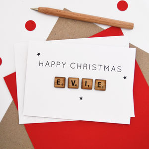 Personalised Christmas Wooden Tiles Card - whats new