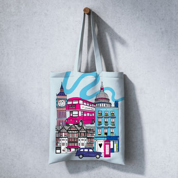 Tote Bag Shopper With London Illustration