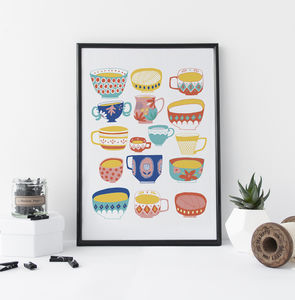 Tea Cups And Bowls Art Print - drawings & illustrations