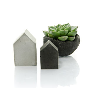Small Concrete House Set Of Two - home accessories