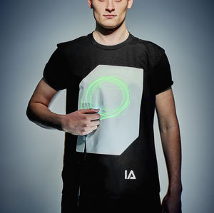 Interactive Green Glow Tshirt In Black - clothing
