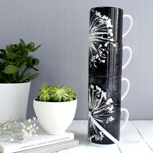 Bold Black And White Floral Print Stacking Gift Mug - tableware