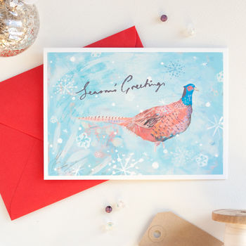 Pheasant Christmas card by inkpaintpaper which can be personalised inside
