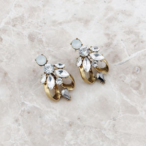 Gold Tulip Statement Rhinestone Earrings