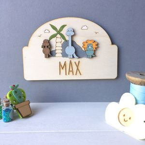 Personalised Dinosaur Door Plaque - children's decorative accessories