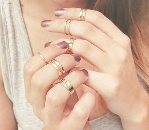 Gold Midi Ring Set Of Seven - gifts for friends