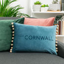 cornwall most loved place where we met custom cushion