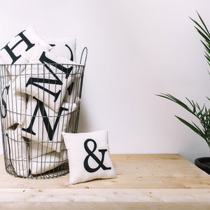 Monochrome Letter Hand Painted Cushion