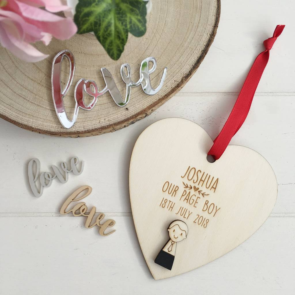 Personalised Page Boy Or Usher Heart
