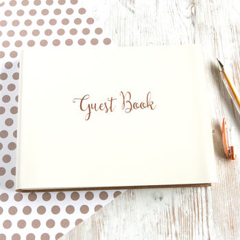 Leather Visitors Book With Cursive Font