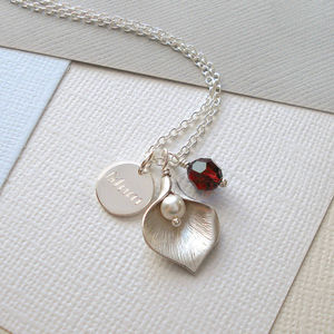 Personalised Calla Lily Necklace - for friends