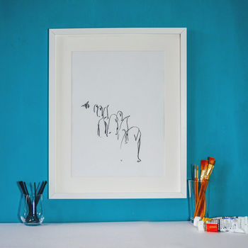 Line Of Penguins Abstract Print