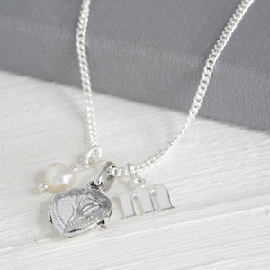Christening Necklace With Locket Initial And Birthstone