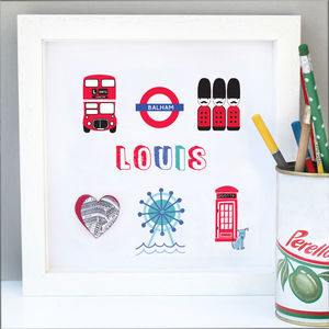 Personalised London Boy Map Art - mixed media pictures for children